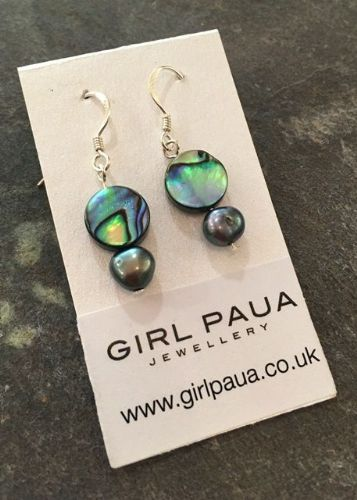 Paua & Freshwater Pearl Earrings PE02-PPC